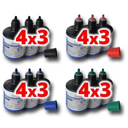 4x3 Botes de Tinta por GOTEO 100ml para Rotuladores de Pizarra Blanca. Colores Negro, Rojo, Azul o Verde